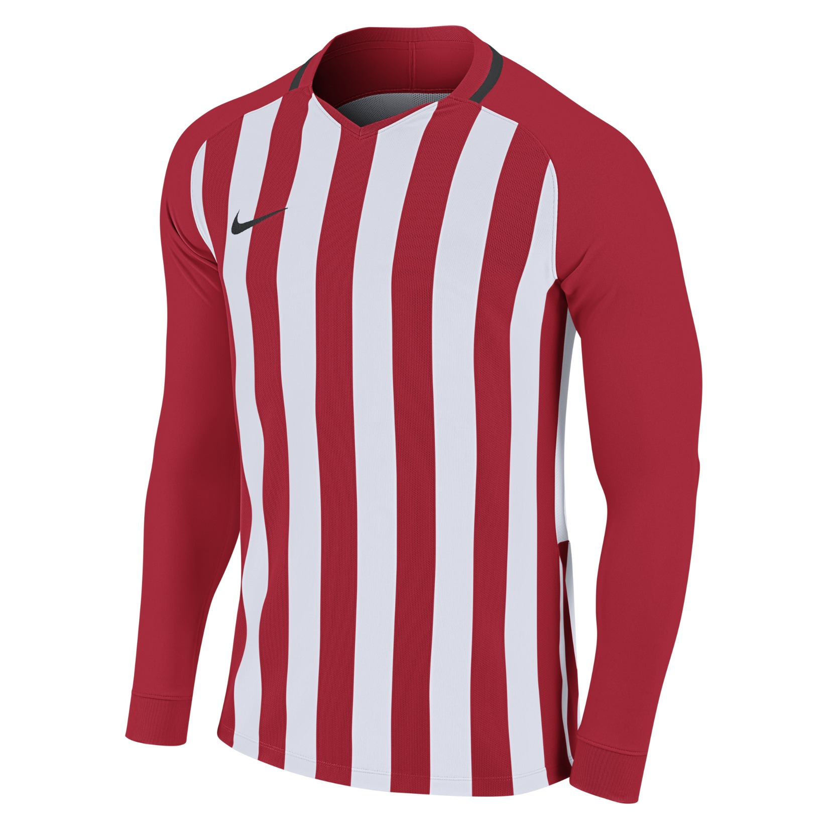 Nike Striped Division III Long Sleeve Football Shirt University Red-White-Black-Black
