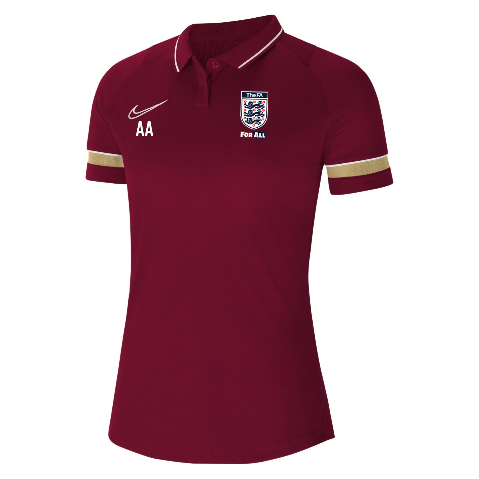 Nike Womens Academy 21 Performance Polo (W) Team Red-White-Jersey Gold-White