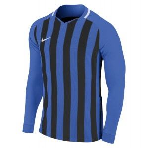 Nike Striped Division III Long Sleeve Football Shirt Royal Blue-Black-White-White