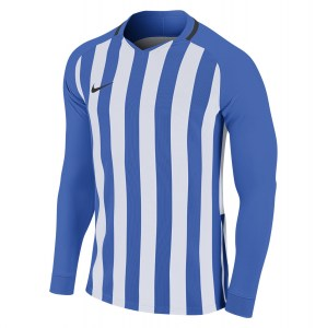 Nike Striped Division III Long Sleeve Football Shirt Royal Blue-White-Black-Black