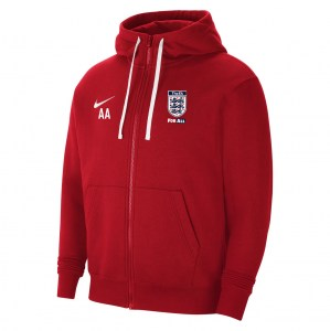 Nike Team Club 20 Fleece Full-Zip Hoodie (M) University Red-White-White