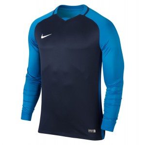 Nike Trophy III Long Sleeve Football Jersey Midnight Navy-Lt Photo Blue-Lt Photo Blue-White